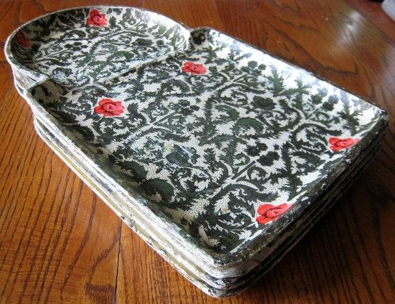 Set of Four Vintage Chintz Papier Mache Snack Trays - Unusual Moorish Shape