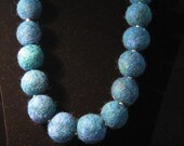 Felted Wool Necklace -- Chunky Blue Bohemian