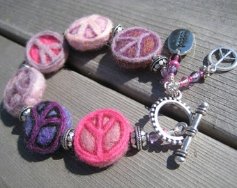 Peace Sign Felted  Wool Bracelet -- Pinks & Purples