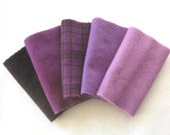 Hand Dyed Felted Wool in a Beautiful Collection of Purple Tones a Perfect Rug Hooking and Applique Wool 2646