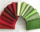 15 Inch x 6 Inch Hand dyed felted wool fabric in a wonderful combination of red and green tones 2677C