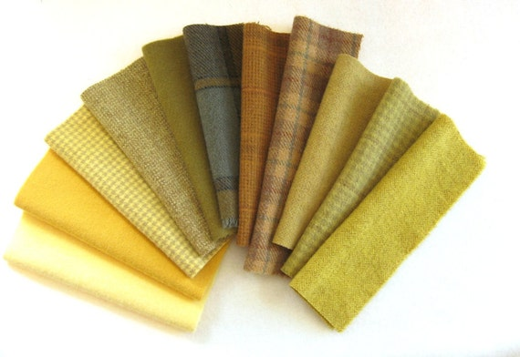 Hand Dyed and Felted Wool Fabric in Shades of Gold and Yellow Number 2740