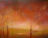 Beautiful original oil impressionistic and surrealistic  landscape painting