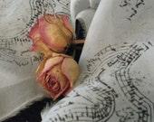 HANDPAINTED SILK WEDDING RIBBON - MOZART and ROSES