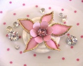 Pink sparkle posy repurposed vintage brooch cottage style magnet - a Treasury item