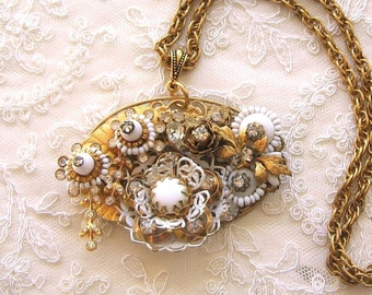 Hollywood Style Gatsby Glam Collage Necklace Repurposed Vintage Jewelry