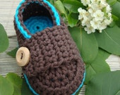 Baby booties  little loafers dark turquoise and chocolate size 3/6M- ready to ship with gift box