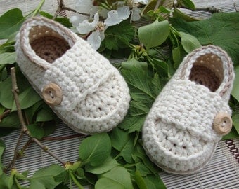 Baby booties little loafers cream and coffee size 3 months handmade in France