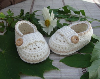 Baby booties shoes little loafers cream and coffee, size  0/3 months ready to ship with gift box