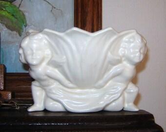 Sweet and Creamy Cherub Pottery Dish, Johnson's Ceramics