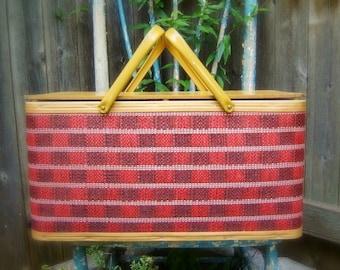 Natural, Red and Navy Picnic Basket, Large