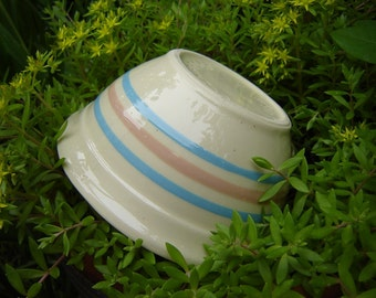Pink and Blue Striped  USA Pottery Bowl