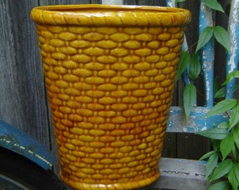 Vintage Ceramic Golden Basket-weave Container