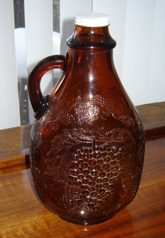Half Gallon Brown Glass Jug With Grape Motif