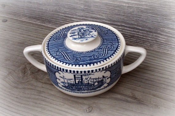 Currier and Ives Steamboat Pattern Sugar Bowl, Blue