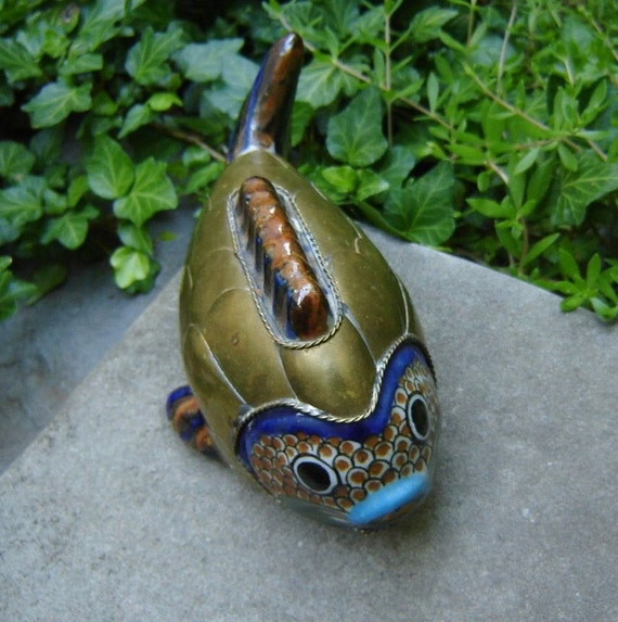 Adorable Brass and Pottery Decorative Fish