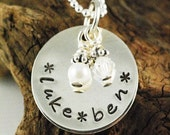 MY LITTLE ANGELS - Hand Stamped Necklace - Lower Case Letters - Personalized