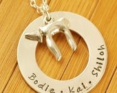 Circle of Love with Chai Charm - Hand Stamped Necklace
