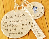 LOVE BETWEEN MOTHER and CHILD with TAG - Hand Stamped Necklace - Personalized