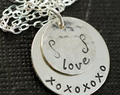 Hand Stamped Sterling Silver Necklace, Personalized Jewelry, Love Necklace, Anniversary, Wife