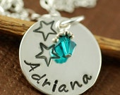 Hand Stamped Sterling Silver Necklace - Precious Name Charm with Stars