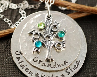 Grandmother Jewelry, Hand Stamped Necklace, Sterling Silver Necklace, Personalized Jewelry, Family Tree Jewelry