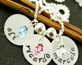 Hand Stamped Mommy Jewelry, Sterling Silver Necklace,  Triple Name Tag, Personalized Custome Necklace