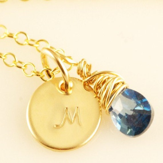 BIRTHSTONE NECKLACE - CUSTOM DESIGN WITH YOUR INITIAL AND STONE - SAPPHIRE CRYSTAL AND 14KT GOLD FILLED DISC INITIAL NECKLACE (can be made in silver)