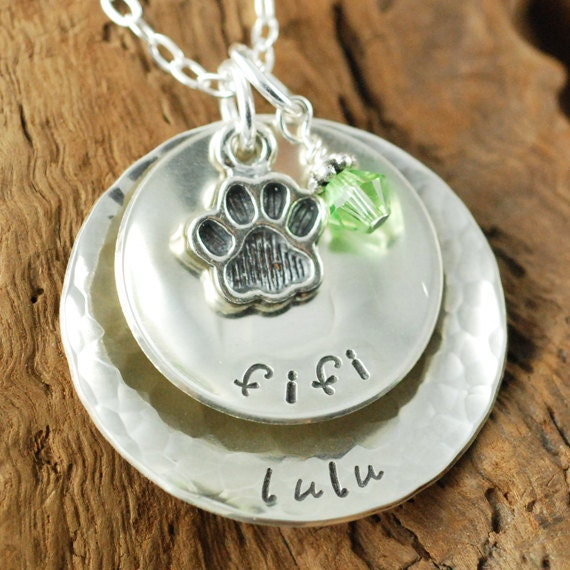 Dog Lovers,  Handstamped Sterling Silver Necklace, Paw Charm, Personalized Dog Jewelry