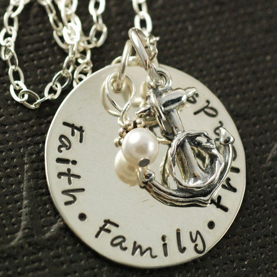 Hand Stamped Jewelry - Sterling Silver Necklace - Faith Family Friends - Sterling Silver Anchor, Personalized Jewelry