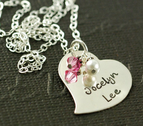 Hand Stamped Necklace, Sterling Silver Heart, Birthstone, Mommy Jewelry, Personalized