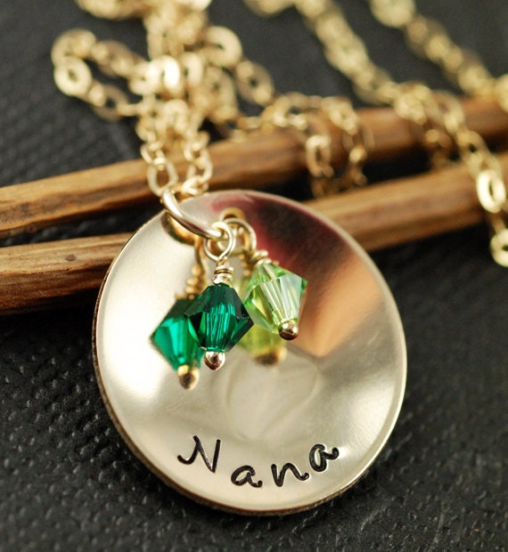 Hand Stamped Grandmother Necklace, 14kt Gold Filled Necklace, Personalized Jewelry, Birthstone, Grandma Jewelry, Grandmother, Sister