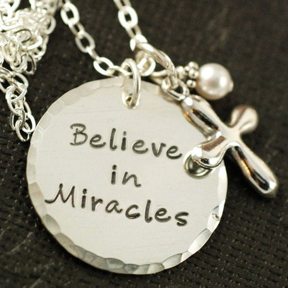Hand Stamped Jewelry, Religious Necklace, Personalized Jewelry, Believe in Miracles with Cross, Sterling Silver Hand Stamped Necklace