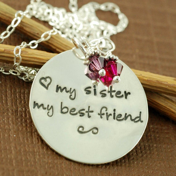 My Sister My Best Friend, Hand Stamped Necklace, Personalized Jewelry, Sister, Friend, Keepsake