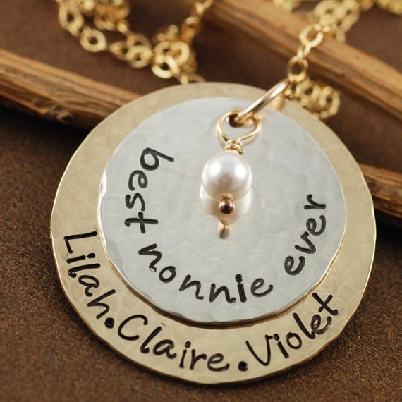 Gold and Silver Hand Stamped Jewelry, Grandma Necklace,  Layered Necklace, Personalized Gold Necklace, Pearl