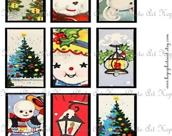 Retro Bundle Snowman Snow Birds Christmas Trees Vintage Set of 27 Tags 2x3 Digital Collage Sheet  ATC ACEO tags greeting cards Uprint 300jpg