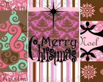 Modern Pink and Brown Christmas Tags 2.5x4 Digital Collage Sheet backgrounds atc aceo greeting cards - U Print JPG format 300dpi