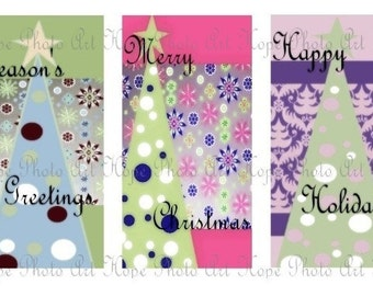 Modern Christmas Tree Tags 2.5x4 Digital Collage Sheet backgrounds ATC, ACEO greeting cards- U Print