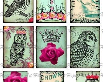 Royal Crowned King and Queen Owl Tags Digital Collage Sheet  ATC ACEO postcard greeting cards Uprint 300jpg