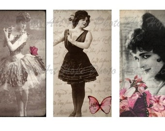 Vintage Women of Vaudeville 2x3.5 Tags Digital Collage Sheet atc aceo postcard greeting cards note cards stationary  - U print 300dpi jpg