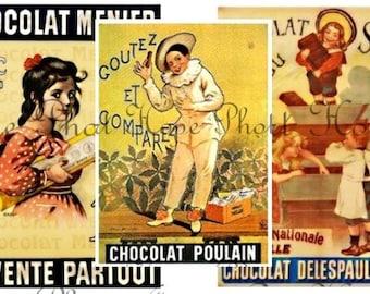 Vintage French Chocolate Ads 2x3 Tags Digital Collage Sheet- valentine ATC ACEO tags postcard greeting cards - U print 300dpi jpg
