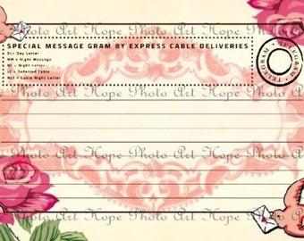 SpEcIaL DeLiVeRy Telegram Vintage Cottage Rose Telegram 4x6 Digital Collage Sheet Invitation, ATC, ACEO postcard, greeting- U Print jpg