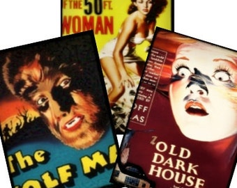 Vintage Halloween Horror Movie Monsters Digital Collage Sheet II 2.5x3.5 ATC ACEO tags postcard greeting cards Uprint 300jpg