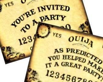 Ouija Board Party Halloween Invitation and Thank You Post Cards 4x6 Digital Collage Sheet Tags - tags greeting cards ATC ACEO UPrint 300jpg