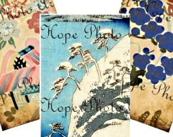 Vintage Asian Oriental 2x3 Tags Digital Collage Sheet beach nautical Japanese aged stained pastel ATC ACEO tags hang tags gift Uprint 300jpg
