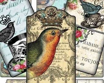 French Tweety Birds Fancy Tags 2.5x4 Digital Collage Sheet - Atc Aceo tags postcard greeting cards hang tags gift - U-Print sh197