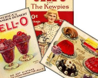 Retro Jello Cookbook Tags 2.5x3.5 Digital Collage Sheet Atc Aceo tags postcard greeting cards hang tags gift - U-Print 300jpg