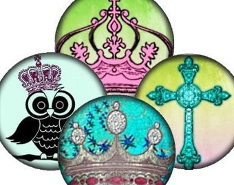 Crowns Owls Vintage Crosses 1 In Circle Digital Collage Sheet bottlecaps jewelry pendant ring clear glass domes round bubbles UPrint 300jpg