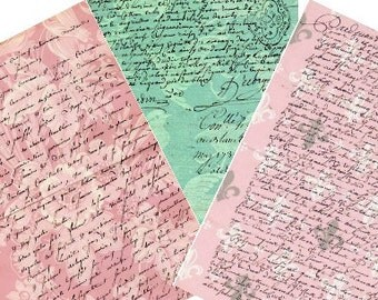 French Letters Damask Vintage Tags 2.5x3.5 Digital Collage Sheet -greeting cards postcard ATC ACEO gift tags- U Print 300dpi jpg sh291