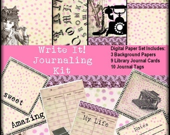 Write It Steampunk Digital Collage Sheet Journaling Kit printable project life image transfer greeting cards U print jpg/png